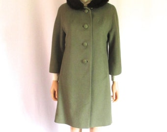 1960s Sage Green Wool Mohair Coat Mink Collar Sz. M