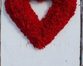 Red Heart Wreath, Valentines Wreath, Rag Wreath, Love Decor, Fabric Wreath, All Year Wreaths, Christmas Wreath, Modern Rustic, Nursery Decor