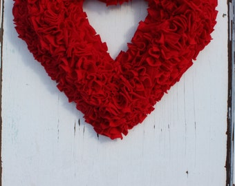 Red Heart Wreath - Rag Wreath - Fleece Fabric - All Year Wreath - Valentines Wreath - Christmas Wreath - Modern Rustic - Nursery Wall