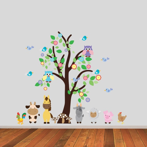 Kids Room Wall Decals Farm Wall Decals Farm Animal Decals: Tree With Owls And Farm Animals Wall Stickers Farmyard Wall