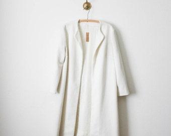 60s white textured long coat