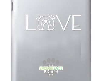 English Bulldog decal vinyl sticker - Bulldog love text with dog silhouette - Smooshface United breed bias