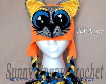 Animal Hat Pattern, Crochet Hat Pattern, Cat with Big Eyes Pattern, Children Spring Hat, Earflaps, Cat ears, girl, kids, adult, baby