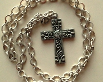 Long Antiqued Silver Necklace With Large Ornate Pewter Cross