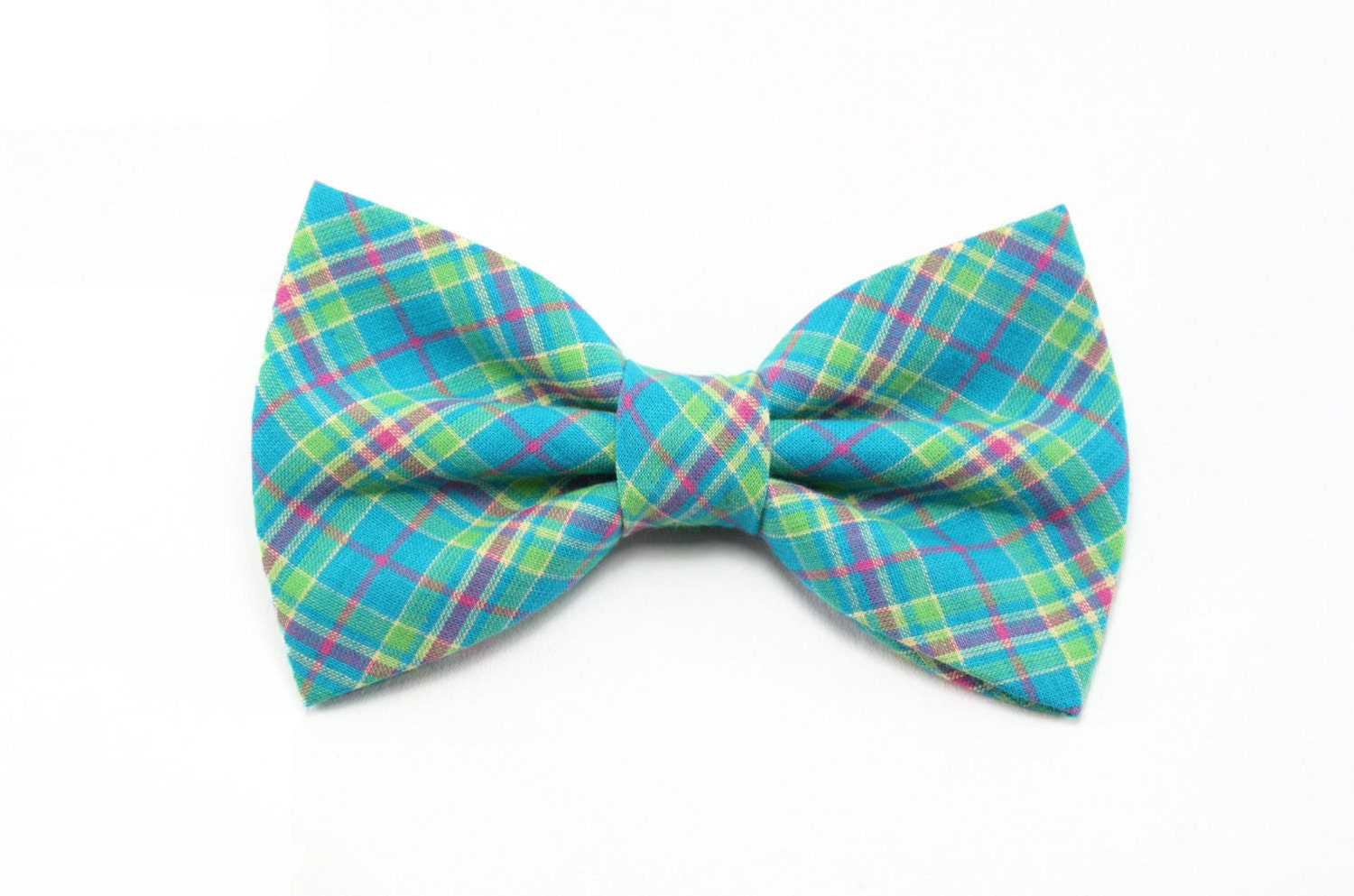 teal plaid cat bow tie turquoise blue tartan by