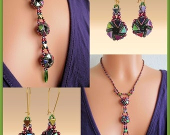 Instant Download of 2 Tutorials with Catherine Wheels - Jewelry set (choker) & Tie and Earrings - Reversible jewelry - Beading Patterns