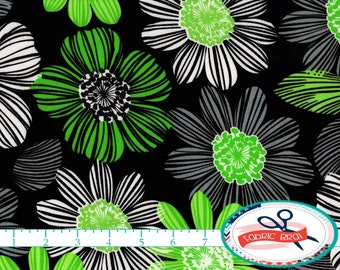LARGE FLORAL Fabric by the Yard, Fat Quarter Lime & Black Fabric BOLD Flower Fabric 100% Cotton Fabric Quilting Fabric Apparel Fabric w7-30