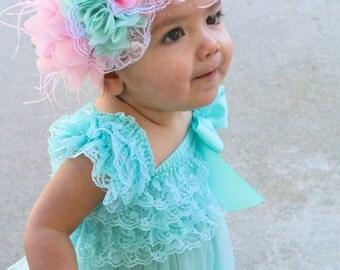 Baby headbands, Pink and aqua flower headband, baby girl headbands, infant headbands, pink headbands, flower headbands
