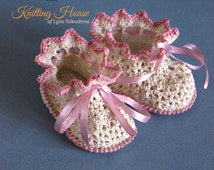 Baby Shoes Baby booties Openwork booties crochet from mercerized cotton yarn cream color for girls Handmade Shoes for children crochet Shoes