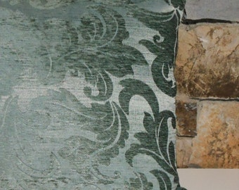 Spa Blue Chenille Damask Elegance Pillow Cover