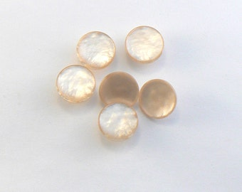 6 - 14 mm Plastic Golden Ivory Pearlized Shank Buttons  #BN-04-10-S