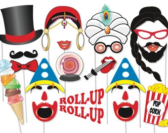 Circus sideshow Photobooth Party Props Set - 40 Piece PRINTABLE - Freak show Photo Booth Props, sideshow, The bearded Lady and many more