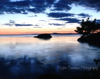 Deception Pass, WA Blue Sunset with Glass Water