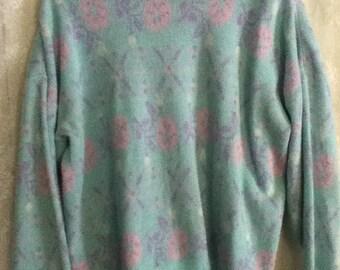 Pastel Pink Mint Floral Knit Sweater Kawaii Kitsch Novelty