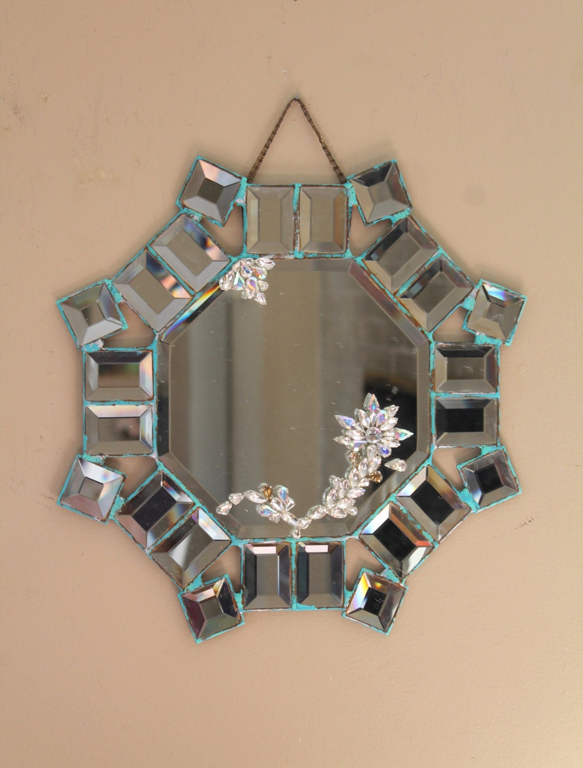 Decorative wall mirror small mirror shabby cottage hand for Small decorative mirrors