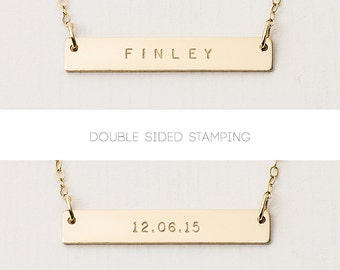 Reversible bar necklace - double sided bar necklace - personalised gold bar necklace - name plate necklace - customise front and back
