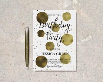 Gold Birthday Invitation Printable, Adult Birthday Invitation Modern Adult Surprise Birthday Invitation, Surprise Birthday party Invitation