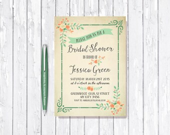 Rustic Bridal Shower Invitation Printable, Bridal Invitation, Floral Bridal Shower Invitation, Mint & Orange Bridal Shower Invite