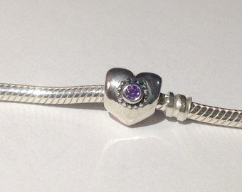 Sterling Silver Charm Heart with Amethyst Cubic Zirconia Stones 925 no0817