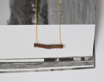 Natural Pine Wood Necklace with Gold foil. Eco friendly. Gold color chain. Handmade for Nature lovers