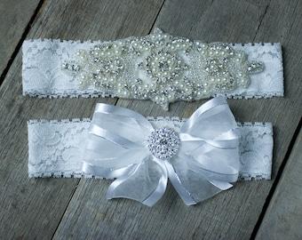 Wedding Garter Rhinestone Pearl Beaded Garter Set  Bridal Garter Set  Custom Fit