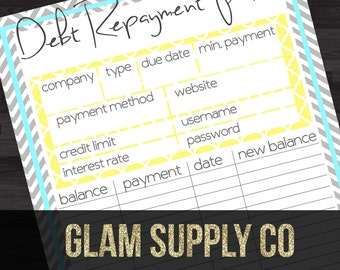 Debt Repayment Plan - Chevron, Blue, & Yellow