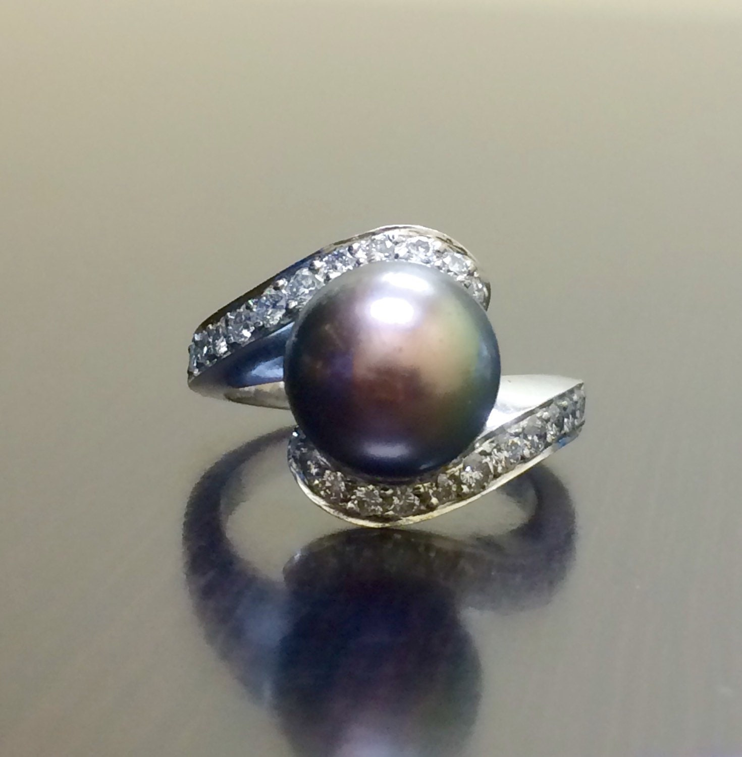 Pearl Wedding Ring: 18K White Gold Art Deco Black Pearl Diamond Engagement Ring