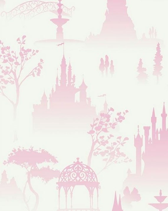 Items similar to Pink and White Enchanted Toile Wallpaper   Princess   Castle  Playroom Decor  Kids  Girls Bedroom  Childrens   By The Yard    DK5986 so on. Items similar to Pink and White Enchanted Toile Wallpaper