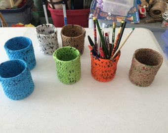 Pencil Holders made from Recycled Grocery Bags