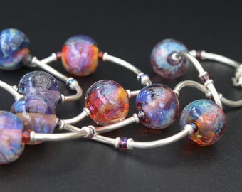 Artisan lampwork and silver necklace / 'Galaxy. Nebula' / Purple, blue, pink, topaz / Long necklace / One of a kind/ Free shipping