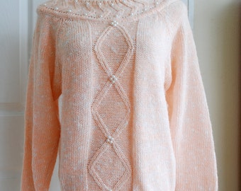 Light Pink Knit Sweater with pearl beads by Ashley S