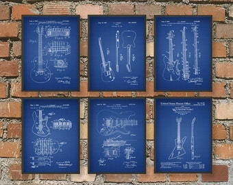 Guitar Patent Wall Art Poster Set of 6 - Guitar Prints Gift Idea - Music Wall Art Poster - Guitar Patent Art Prints Gift Idea