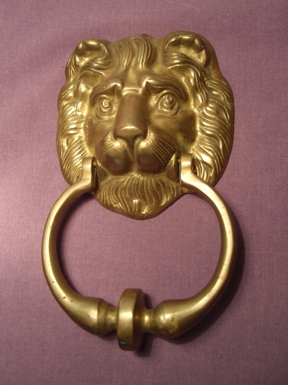 Gorgeous solid brass lion head door knocker cast heavy solid - Brass lion head door knocker ...