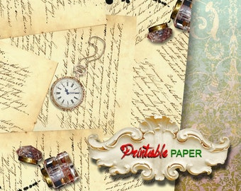 OLD LETTERs  - Printable wrapping paper for Scrapbooking, Creat - Download and Print