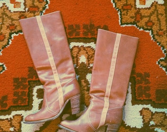 VTG FRYE Knee-High Leather Boots - Frye Campus Boots - Western Boots - Two-Tone Leather Boots - 70's Knee-High Boots - 8.5 - Caramel