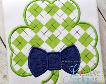 Clover Shamrock Bow Tie St Patrick's Day  Digital Machine Embroidery Applique Design 4 Sizes