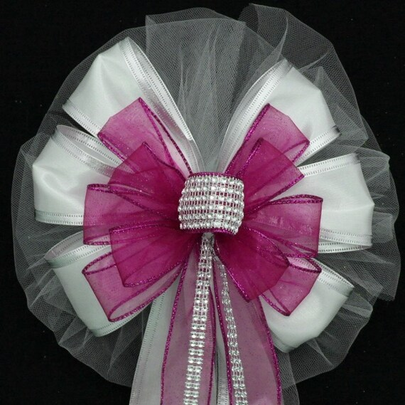 Hot Pink Fuchsia Bling Wedding Pew Bows