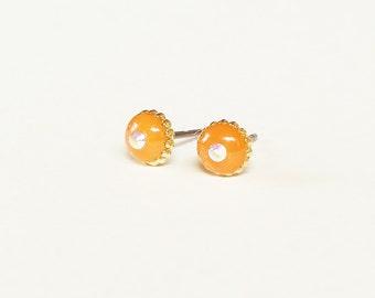 Orange earrings, Sparkly tiny orange stud earrings, Minimalist small orange earrings, Rhinestone earrings, 6mm, Resin Jewelry
