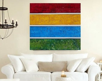 Wood Wall Sculpture - Large Abstract Painting - Modern Wall Art - Original Painting -  Acrylic Painting - Multi Panel Art -  Textured Art