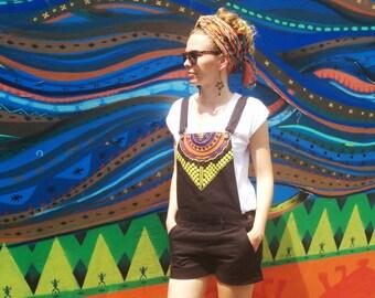 Women Overall shorts / Woven Black Overalls / Tribal Boho Style - Handmade by FallFellFallen