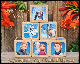 Ready To Ship FROZEN by Walt Disney, Storybook Wooden Blocks, with matching sign available for Nursery Decor, Birthday, Gift for Boys, Girls