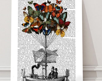 Butterfly Art - Butterfly Airship - Couple anniversary gift cute home décor cute office décor Steampunk artwork Decorative art leaving gift
