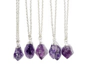 Amethyst Healing Crystal Quartz Cluster NecklaceSilver or Gold Dipped Nugget Drop Purple JewelryDruzy Stone JewelleryBoho Hippy Bohemian