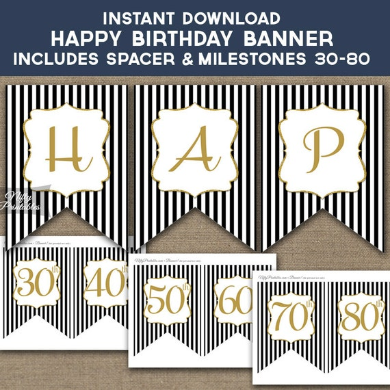 Birthday Banner Printable Happy Birthday Banner Black Gold