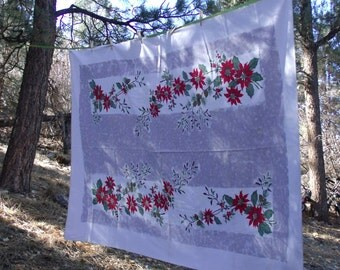Vintage Poinsettias And Pine Boughs Christmas Tablecloth