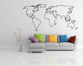 World Map Outline Decal - Large World Map -  Wall Decal - Wall art - Home Decor - Living Room - Bedroom - Office - Gift Idea