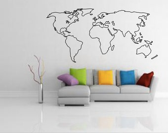 Large world map etsy world map outline decal large world map wall decal wall art home gumiabroncs Image collections