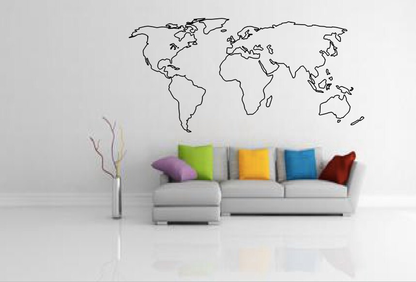 World Map Outline Decal Large World Map Wall Decal Wall