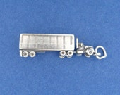 TRACTOR TRAILER Charm, Semi, 18 Wheeler, Truck, Rig 3D Charm .925 Sterling Silver Charm