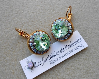 9231f8e3dd170 Boucles d oreilles rondes strass et cabochons en cristal chrysolite, bijoux  de mariées,
